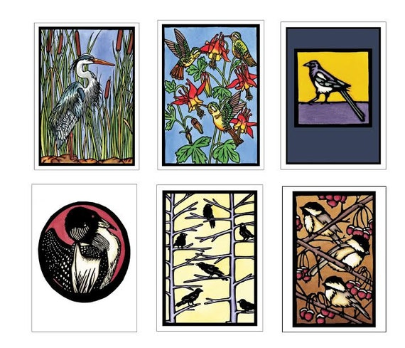 Bird Collection - 6 Blank Greeting Cards - Blue Heron, Hummingbirds, Magpie, Loon, Crows, Chickadees