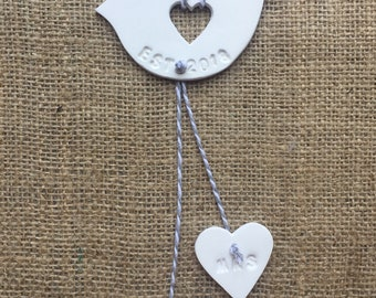 Wedding love bird and hearts gift for the newly weds
