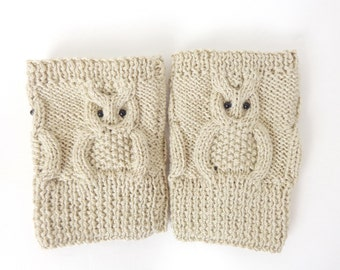 Owl Boot Cuffs, Owl Boot Socks, Boot Topper, Owl Leg Warmers in Cream Or Choose your color  Gift