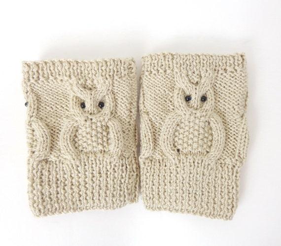 Owl Boot Cuffs Owl Boot Socks Boot Topper Owl Leg Warmers