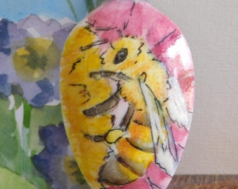 Stainless steel spoon with hand-painted bumble bee and flower in acrylic