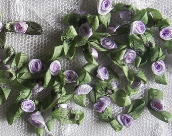 72pc LAVENDER Satin Ribbon Fabric Flower Applique Baby Doll rose bud bow #20