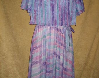 Polyester Dress Pastel Print Fit and Flare M 70s Vintage