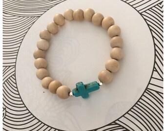 Seashell Jewelry … Beaded Wood Stacking Bracelet (1427)