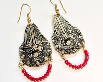Etched Brass Earrings, Art Deco Earrings Red Beads - Free Domestic Shipping