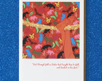 """MOWGLI blank greeting card """"man cub takes to the jungle""""  based on rudyard kipling's """"the jungle book"""" featuring faerie tale feet painting"""