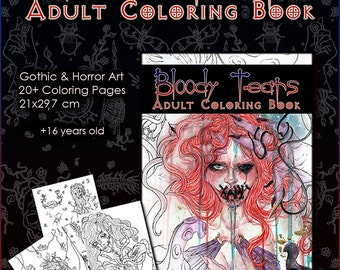 Gothic Coloring Pages For Adults : Gothic coloring book etsy