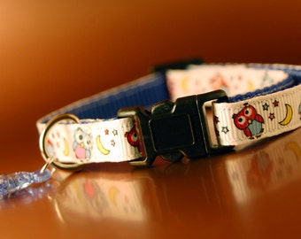 Cat Collar - Owls Pattern and Fish Charm