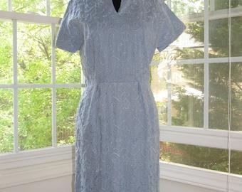Vintage 60s Light Blue Linen Dress, Small
