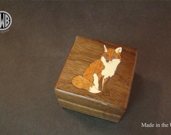 Ring Box Inlaid with a Sitting Fox. Free Shipping and Engraving. RB-94