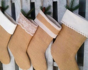 Burlap and Ivory Christmas Stockings set of (3), Personalized  Stocking, Shabby Chic, Rustic Christmas Decor, Burlap Christmas Holiday Decor