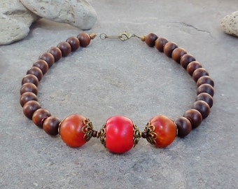Ethnic Statement Necklace, Bold Necklace, Short Chunky Bead Necklace, African Necklace, Tribal Jewelry, Resin Jewelry, Autumn Wood Red Brown