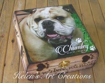 Pet Memorial Box, Keepsake Box, Pet Urn, Personalized Keepsake Box, Dog Urn, Rustic Pet Memorial, Photo Box, Custom Pet Photo, Animal Box