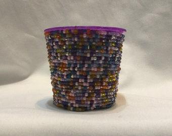 Mini beaded container in purple