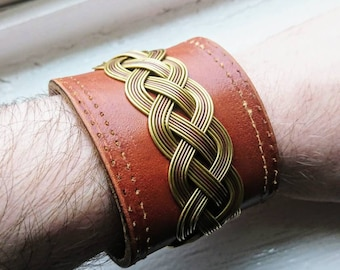 Brass and copper leather bracelet
