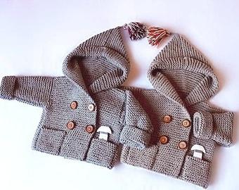 Hand stricken Baby Mantel mit Kapuze Kinder Jacke Merino-Wolle Mantel mit Taschen in verschiedenen Größen und Farben