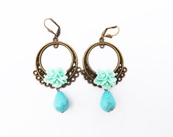 Mint and Turquoise Tear Drop Earrings