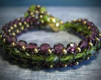 Amethyst Purple & Olive Vine Bracelet (400-600 Beads)