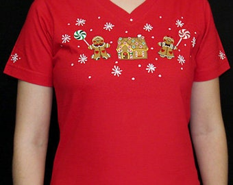 Gingerbread Boy Girl House Christmas Shirt Unique Custom Women's Cute Fun Hand painted Embroidered  V-neck T shirt Cindy's Shirts Boutique