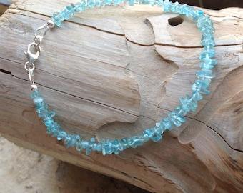 Delicate Apatite Bracelet, Blue bracelet, Semi Precious Gemstone, Sterling Silver, Gift for Her, Bridesmade Gift