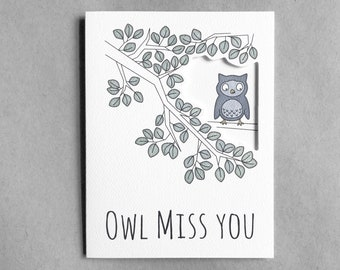 Miss you card | Goodbye card Miss you friend Long distance relationship Owl card I'll miss you card Best friend moving card