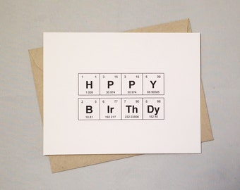 Happy Birthday Card Periodic Table of the Elements