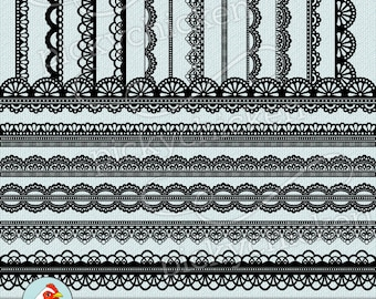 Digital Lace Borders - 18 black lace digital borders, photography overlays shabby chic wedding clip art, printable Instant Download 5022