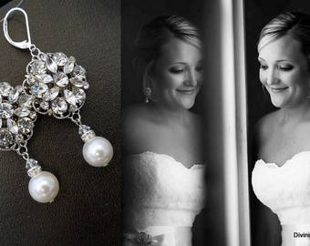 Bridal Earrings Pearl Rhinestone bridal Earrings swarovski Pearls Statement Bridal Earrings chandelier earrings Wedding Earrings ALEXANDRA