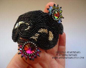 Bead Embroidery Bracelet Cuff  Silver Black  - bead embroidered  - Downtown -  fashion - OOAK