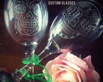 Sugar skull wine glasses, sugar skull gifts, day of the dead glasses, engraved skulls, hand engraved glasses, personalised glasses, custom