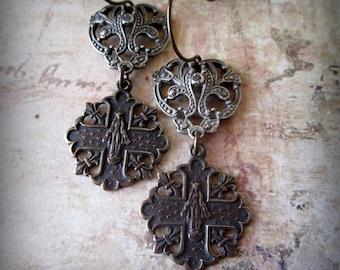 Queen of Heaven Sterling and Bronze Earrings