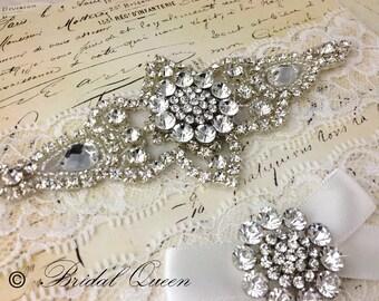 Statement Crystal Wedding garter set,  Bridal Garter set, Lace Garter, Crystal Garter, Garter, Rhinestone Garter