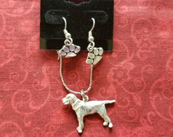 CP153 Vintage Sterling Silver Necklace with Sterling Silver Dog Pendant and Paw Print Dangle Earrings