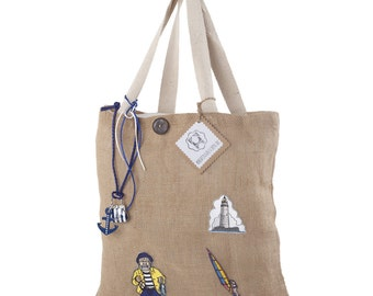 Patches Tote bag jute, North Sea feeling, shoulder bag, shopper with patch