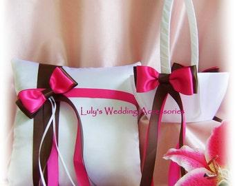 Brown Fuchsia Pink Wedding Pillow Basket, Wedding Ring Bearer Pillow Flower Girl Basket, Chocolate Brown and Fuchsia Ceremony Decor