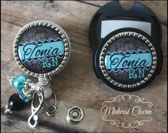 black/turquoise.. badge reel and stethoscope clip set..nurse gift..doctor..RN..Lpn..nursing instructor