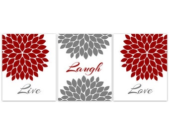 Bedroom Wall Art, Live Laugh Love, INSTANT DOWNLOAD Home Decor Wall Art, Printable Modern Wall Decor, Red and Grey Bedroom Decor - HOME93