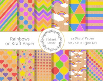 Rainbow digital paper - Rainbow clipart - Scrapbook paper - Rainbow Bright Kraft Digital Paper - Kraft Paper - Digital Paper, Commercial use