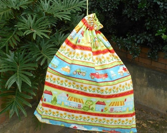 Kids large library bag or kindy sheet bag, bright colourful town & vehicles, large toy bag
