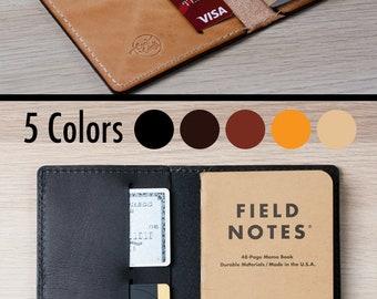 Field Notes Cover / Moleskine Cover - Wickett & Craig Full Grain Leather / Moleskine Wallet / Minimalist / Personalized Pocket Notebook/FLD1