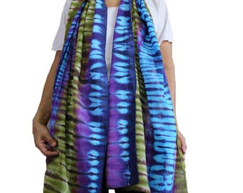 Hand Dyed Scarf, Women Shawl, Wrap Scarf , Tie dye Cotton Scarf Summer Beach Accessories (21)