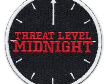 Threat Level Midnight Clock Embroidered Iron on Applique Patch