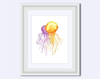 Jellyfish printable - jellyfish print - sea life print - Watercolor print - jellyfish wall art - Nursery decor - jellyfish decor - instant