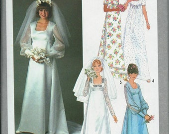 VTG Simplicity 8392 Bridal Gown and Bridesmaid Dress Pattern, Wedding Dress, Sizes 8, 10, 12 & 14, UNCUT