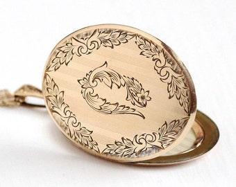 Sale - Antique Photo Locket - Vintage Edwardian Early 1900s Art Nouveau Rosy Yellow Gold Filled - Statement Floral Oval Necklace Jewelry