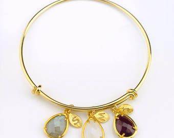Mom bracelet birthstone New mom gift, custom Birthstone bangle mother initial bracelet, mommy jewelry, adjustable bracelet, baby shower gift