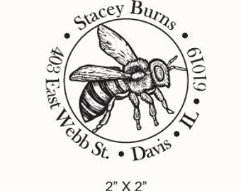 May Sale Mothers Day Sale Custom Honey Bee Illustration Return Address Rubber Stamp AD94