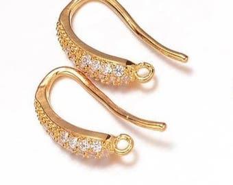 2 pcs Micro Pave Cubic Zirconia earring hooks,Golden,brass ear hook,Golden Rhineston Ear hooks,golden finding,cubic zirconia earring hook