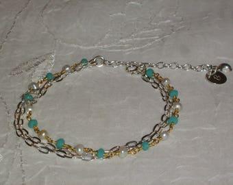 Bracelet Sterling Silver + Gold 22k_calcedoine perle_personnalise_gravure_creation_ handmade.
