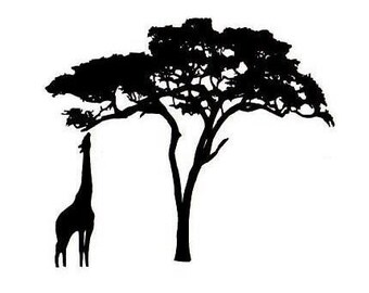 Giraffe and Acacia Tree Silhouette UNMOUNTED rubber stamp, Africa, African safari, wild animal  - #17